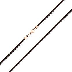 Ювелирный шнурок Мадагаскар из черной плетеной кожи с золотым замочком 000129292