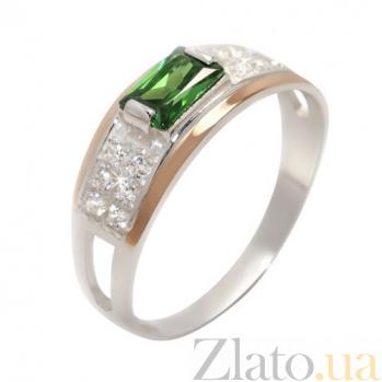 Серебряное кольцо Фемида с золотом и разноцветными фианитами BGS--346к/зел
