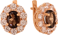 Золотые серьги с раухтопазом и фианитами Элмас 000024391