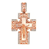 Крест Единая вера в красном золоте с фианитами