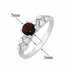 Серебряное кольцо Оттепель с сердечками, гранатом и фианитами