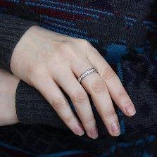Серебряное кольцо Лиственный хоровод с дорожкой циркония