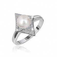 Серебряное кольцо Пилар с жемчугом и фианитами
