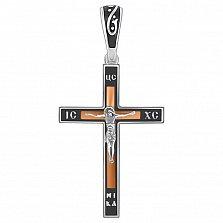 Серебряный крестик Спаситель с черной эмалью и золотой накладкой