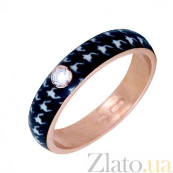 Золотое кольцо Пастель с фианитом и эмалью гусиные лапки 000019960