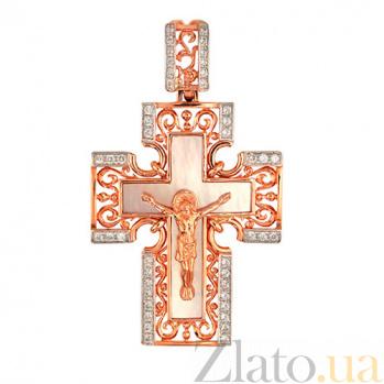 Крест Единая вера в красном золоте с фианитами VLT--КП3392