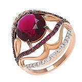 Золотое кольцо Камень Бирмы с нанорубином и фианитами