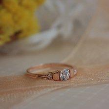 Золотое кольцо Илона в красном цвете с фианитами