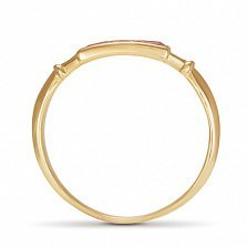 Золотое кольцо Адриана в красном цвете с морганитом