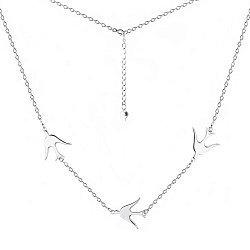 Серебряное колье с тремя птичьими фигурками 000064255
