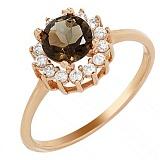 Золотое кольцо Медовое лето с раухтопазом и фианитами