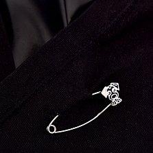Серебряная булавка Собачка с белой и черной эмалью