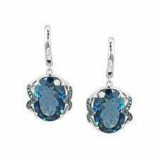 Серьги-подвески из белого золота Эмилия с голубыми бриллиантами и топазом