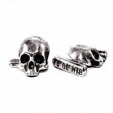 Запонки из серебра Guy & Patrick с черепами и чернением