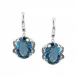 Серьги-подвески из белого золота Эмилия с голубыми бриллиантами и топазом 000081104