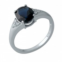 Серебряное кольцо с синтезированным сапфиром, фианитами и родированием 000128906