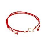 Шелковый браслет Счастливчик с золотой вставкой в красном цвете в стиле Ван Клиф