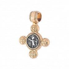 Серебряный крестик Спас Нерукотворный и Ангел Хранитель с позолотой