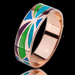 Золотое кольцо Волшебная страна с эмалью мужское 000018667