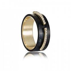 Кольцо из карбона и желтого золота Болейн с фианитами