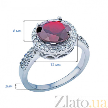 Кольцо серебряное с гранатом и цирконами Натэлла AQA-R01560G