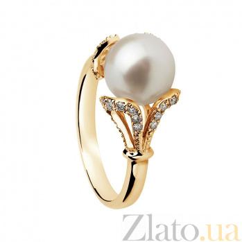 Золотое кольцо с жемчугом и бриллиантами Вашингтония 000030257