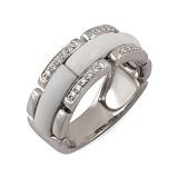 Кольцо из белого золота Ваниль с белым ониксом и бриллиантами