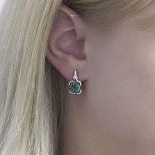 Серебряные серьги Самуэла с зеленым кварцем и фианитами