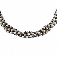 Ожерелье Таура из 5 нитей белого и черного жемчуга с серебряной застежкой
