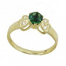 Золотое кольцо Магический цветок с синтезированным изумрудом и фианитами