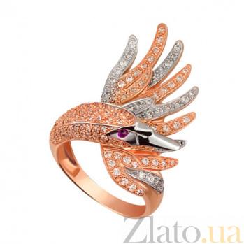 Кольцо из красного и белого золота Лебедь с фианитами VLT--ТТ1257