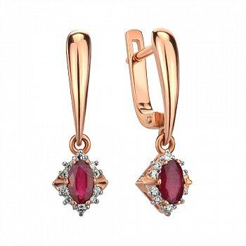 Серьги-подвески из красного золота с рубином и бриллиантом 000145437