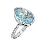 Серебряное кольцо с голубым топазом Голубая лагуна