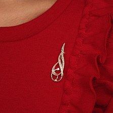 Серебряная брошь Дианора с алмазной насечкой и фианитами