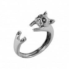 Серебряное кольцо с чернением Котик