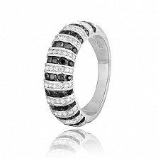 Серебряное кольцо с черными и белыми фианитами Астарта