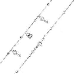 Серебряный браслет Ключики и замочек с бусинками и фианитами