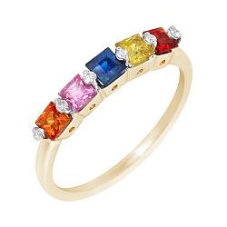 Кольцо в красном золоте с разноцветными сапфирами и бриллиантами 000105778