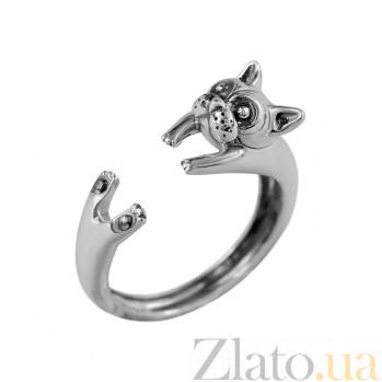Серебряное кольцо с чернением Котик 000029344