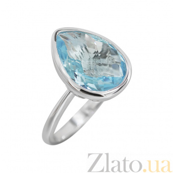 Серебряное кольцо с голубым топазом Голубая лагуна 000032361