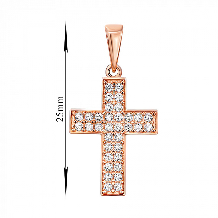 Крестик из красного золота с цирконием 000140159 000140159