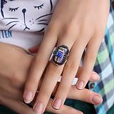 Серебряное кольцо с имитацией опала Экспрессионизм