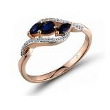 Кольцо из красного золота Сьюзен с бриллиантами и сапфирами