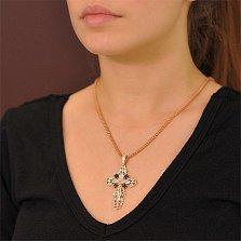 Массивный золотой крест Покаяние с черными и белыми фианитами