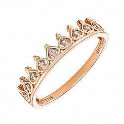 Кольцо-корона из красного золота с фианитами 000135724