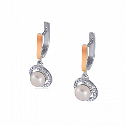 Серебряные серьги-подвески Инесса с золотыми накладками, жемчугом и фианитами