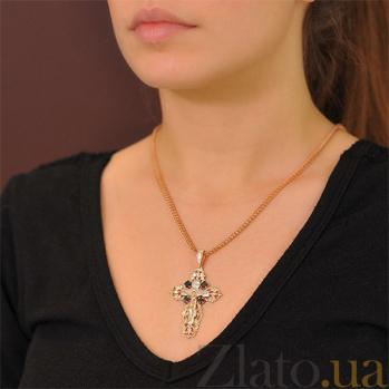 Массивный золотой крест Покаяние с черными и белыми фианитами EDM--КР0133Ч