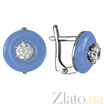 Серебряные серьги с агатами и фианитами Полнолуние 000015118