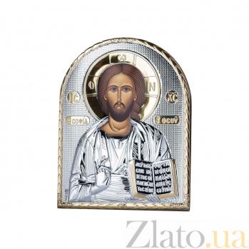 Серебряная икона Иисус Христос с позолотой  AQA--EP5-001XLAG-BR