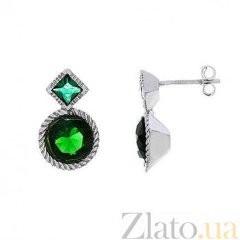 Серебряные пусеты с зеленым цирконием AQA--S222560061